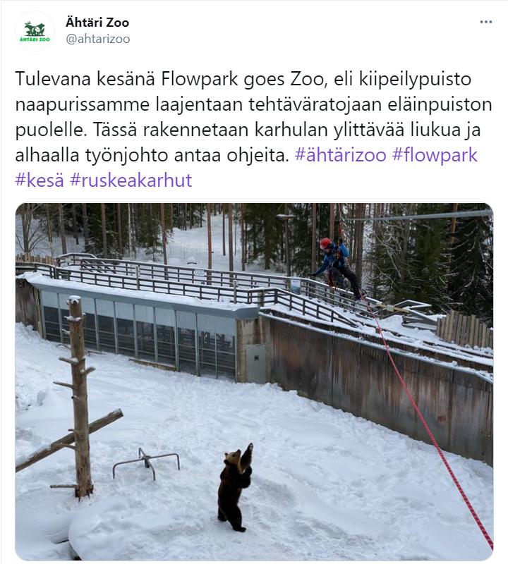 Ähtärin eläinpuiston tviitti karhuaitauksen ylittävästä vaijeriliu'usta