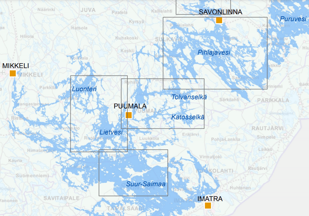 Saimaannorpan tärkeimmät pesimäalueet kartalla